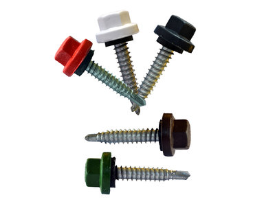 Nylon kleurkopschroeven Verzinkt 6,3x120 - 100 stuks