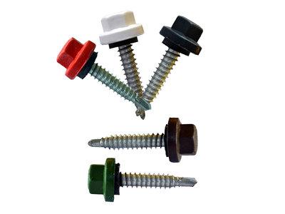 Nylon kleurkopschroeven Verzinkt 6,3x35 - 100 stuks